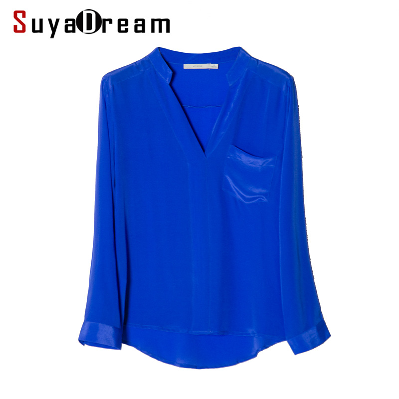 REAL SILK Women T SHIRT Deep V neck Solid Top shirt 100 Natural silk casual Top