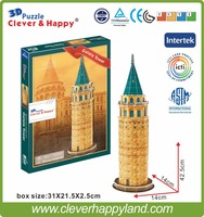 17pcs world architechure Galata Tower children DIY paper 3D puzzle game