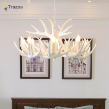 Antlers Resin Chandelier Lamp Modern White Antler Lustre Chandeliers E14 Vintage Lights Novelty Lighting