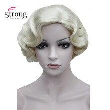 Strongbeauty dedo ondulado estilo curto da pele topo peruca de cabelo sintético perucas traje escolhas de cor