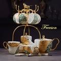 Роскошный чайный набор из костяного фарфора с золотой инкрустацией  фарфоровый чайный набор  Современная чашка для горшка  керамическая кр...