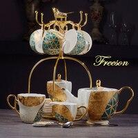 Luxo osso china conjunto de café ouro inlay porcelana chá conjunto avançado pote copo cerâmica caneca açúcar tigela creme leite jarro|Conjuntos de café| |  -