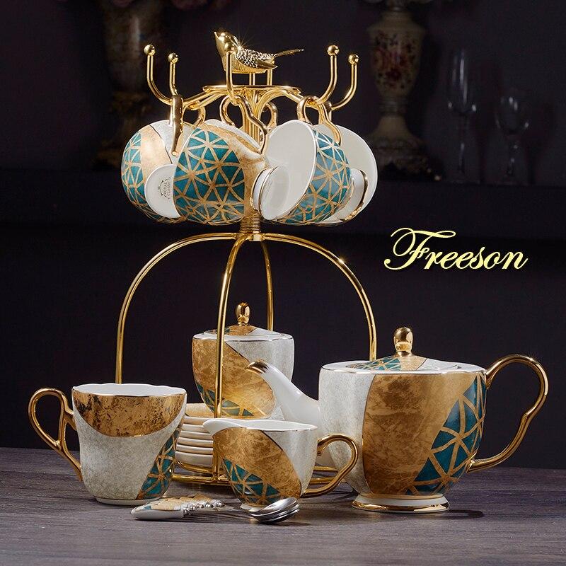 Luxury Bone China Coffee Set Gold Inlay Porcelain Tea Set Pot Cup Ceramic Mug Sugar Bowl Creamer Teapot Milk Jug Coffeeware