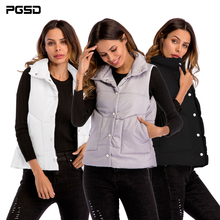 PGSD Spring Autumn Simple Fashion Women Clothes Portable Warm Short Sleeveless Turn-collar vest Outerwear Cotton Coat female