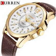 CURREN Top Brand Luxury Leather Starz Quartz Date Men's Watch Fashion Men's