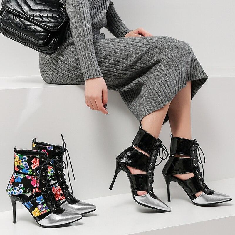 e266dd32ee5e48 Gladiateur Printemps Femmes Bottes Nouvelle Chaussures Classiques Été 2019  Hauts Cheville Pointu Mnixuan Sandales multi Bout Talons Lacent Noir  wz0IOxqw5