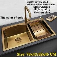 Бесплатная доставка Стандартный deluxe цвет золотистый кухня ручная мойка двойной паз Прочный из нержавеющей стали 304 Лидер продаж 78x43/82x45 см