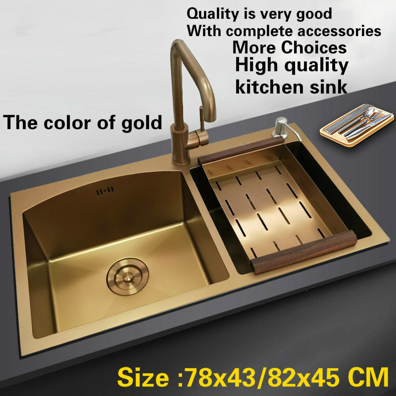 Free shipping Standard deluxe gold color kitchen manual sink double groove durable 304 stainless steel hot sell 78x43/82x45 CM free shipping standard mini kitchen manual sink single trough black durable food grade stainless steel hot sell 550x450 mm