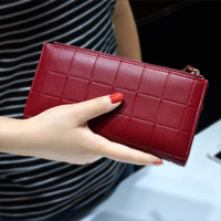 Women PU Leather Purses Plaid Wallets Long Fashion Ladies Colorful Walet Red Clutch Coin Pocket Female