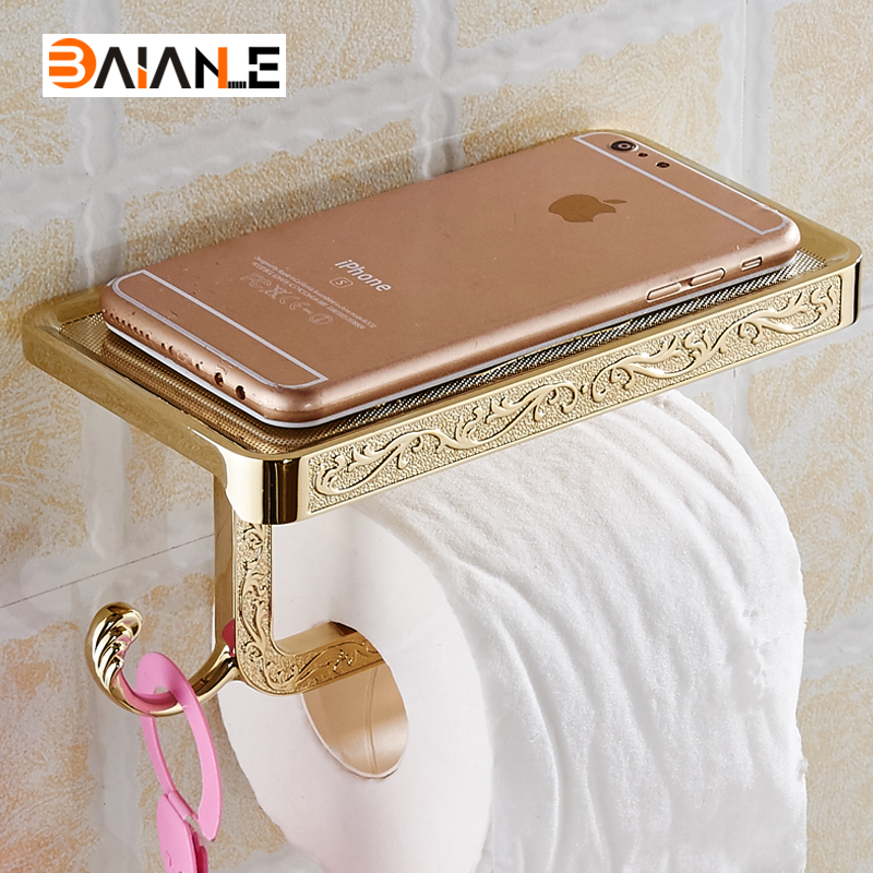 Antique/Gold/White Toilet Paper Holders Mobile Phone Holder With Hook Bathroom <font><b>Accessories</b></font> Paper Shelf