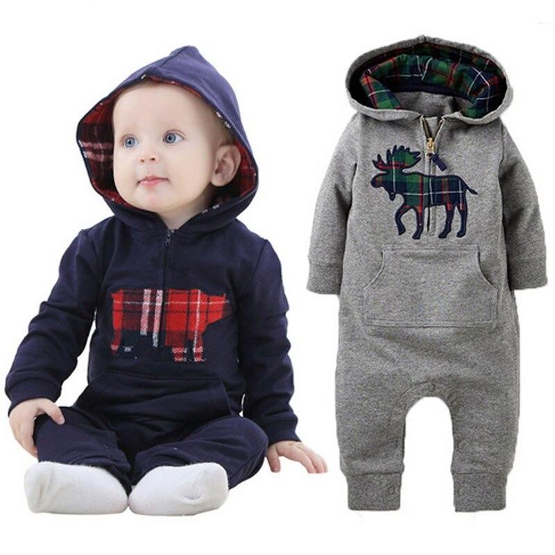 e80722c4186a6 الطفل الخريف الربيع القطن الحصان الطباعة الرضيع الوليد بنين الملابس  infantil رومبير مجموعة ملابس الأطفال بذلة 2 الألوان