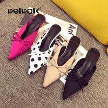 купить Wellwalk Small Heel Slippers Women Pointed Toe Mules Women Dress Slides Female High Slippers Ladies Elegant Sandals Mules по цене 1284.94 рублей