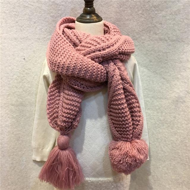 280 g/pc mujer invierno sólido bufanda de punto acrílico lana grande ...