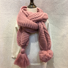 280g/pc Female Winter Solid Knitted Scarf Acrylic Wool Big Ball Pompom Crochet Shawls Fringe Tassel Macrame Long Scarves YG452