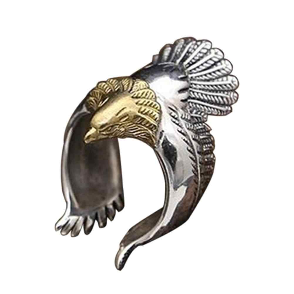 Unique Flying Eagle Knight Ring Cool Punk Men's Animal Retro Open Ring Jewelry Vintage Eagle Wing Eagle Ring Bar Party Ring Gift