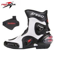 PRO-BIKER SPEED BIKERS Hombres Zapatos de Cuero de La Motocicleta Botas de Montar En Moto de Motocross Carreras de Motos Off-Road Moto A004