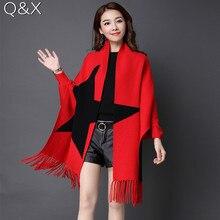 SC66 2018 Oversize Double Side Scarf Winter Luxury Cashmere Poncho Women Star Designer Female Long Sleeves Wrap Vintage Shawl