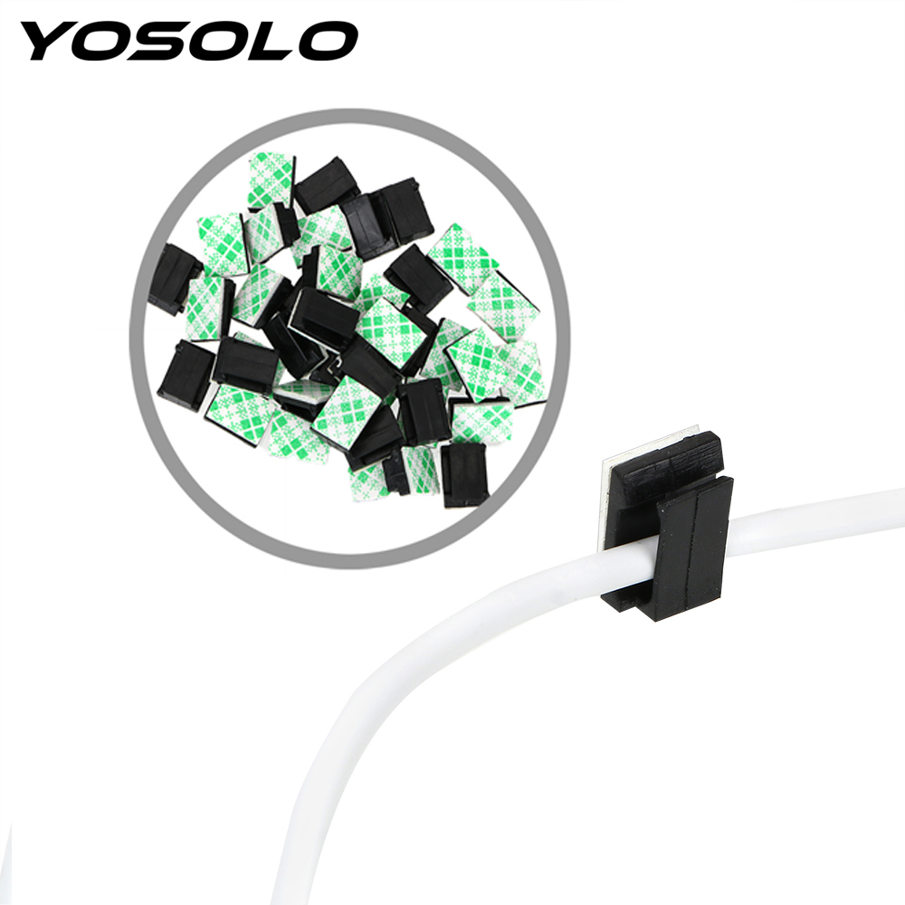YOSOLO 40Pcs Wires Fixing Clips Car Vehicle Data Cord Cable Tie Mount Interior Accessories