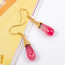 цена на Summer Women Jewelry Natural Peach Blossom Earrings Jewelry Gem Stone Beads Pendant Water Drop Dangle Earring Pin Gift