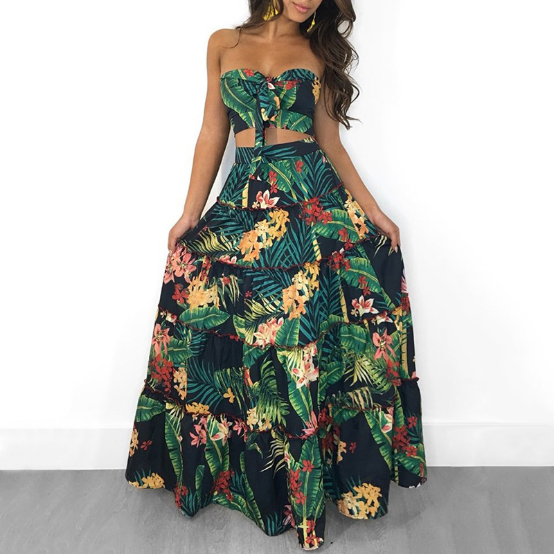 Boho New Sexy <font><b>Women</b></font> <font><b>Two</b></font> <font><b>Piece</b></font> <font><b>Set</b></font> Crop Top Long <font><b>Skirt</b></font> Floral Printed Bandeau Strapless Bandage Ruffles High Waist Casual Suit image