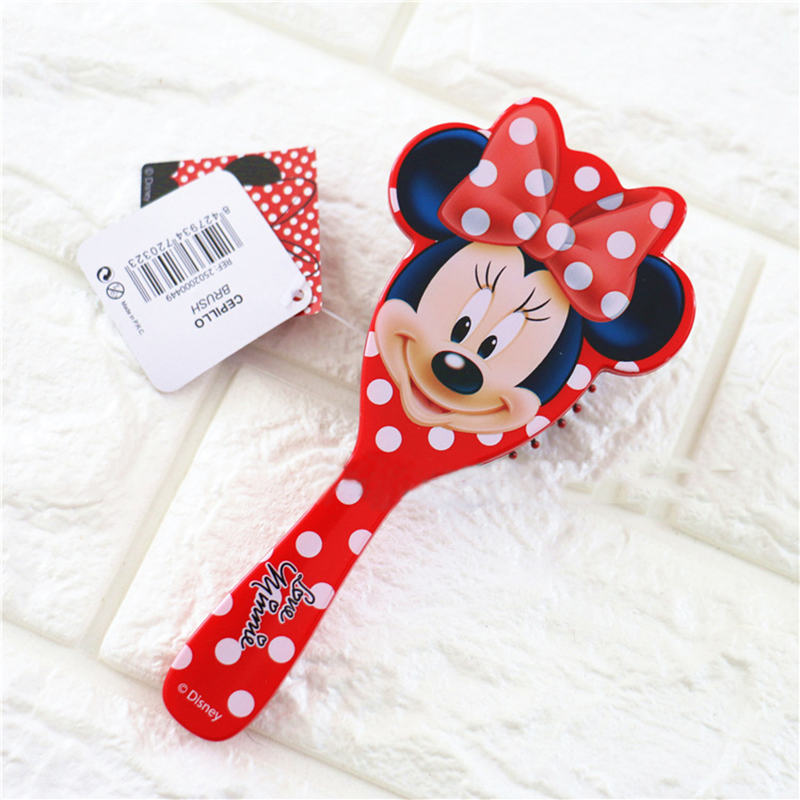 Disney 1PCSMinnie Kids GentleAnti-static Brush Brush Tangle Wet Dry Bristles Handle Tangle Comb Ice Queen Curly Hair Brush Combs