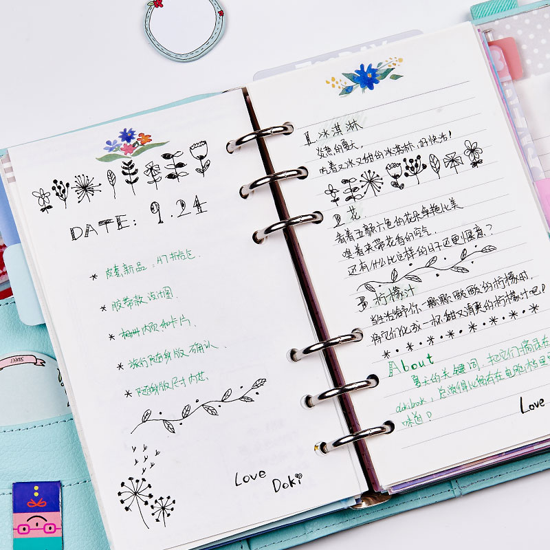 Dokibook 2017 New Notebook Papers A5 A6 Pages Planner Filler Flowers Agenda Inside Paper Matching filofax kikkik