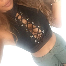 2017 Summer Style Women Ladies Sexy Bandage Crop Tops Round Neck Sleeveless Tee Shirt Crop Tops Cropped Tank Tops Blouse
