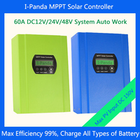 60A 12 24V 48V Auto Recognize PV MPPT Solar System Battery Charge Street Light Intelligent Controller