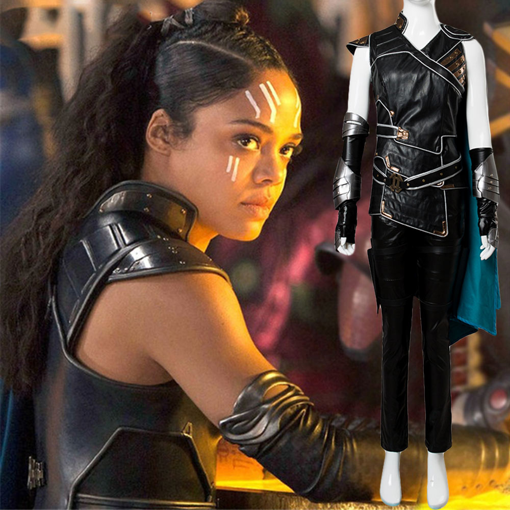 The Avengers Thor 3 Ragnarok Valkyrie Cosplay Costume Gown Suit Cape Vest  Full Sets Halloween Carnival Costume Adult