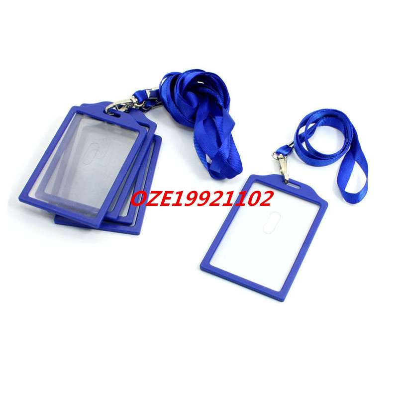 Company Blue Vertical Business Name Badge Card Holder W Nylon Strap