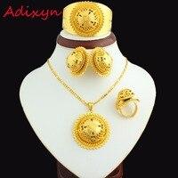 Big Size Ethiopian Jewelry Sets 24K Gold Plated Necklace Earring Ring Bangle Pendant Women Bridal Eritrea