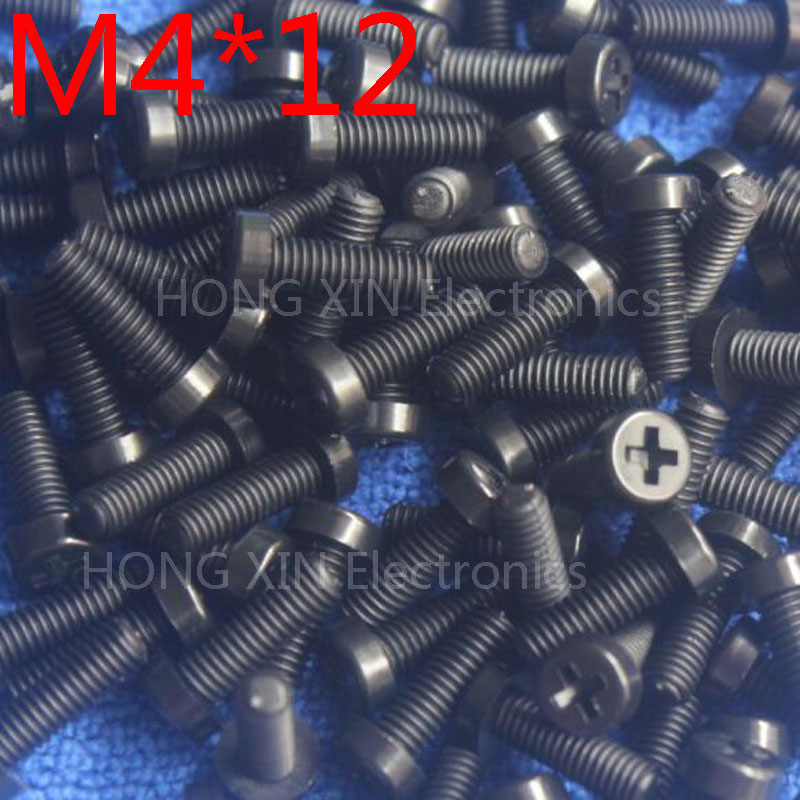 M4 * 12 noir 12mm 1 pièces tête ronde vis en nylon boulons en plastique tout nouveau RoHS attaches conformes assortiment PC/conseil bricolage