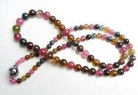 Из натуральной красочный Турмалин драгоценного камня кристалла круглый прозрачный Бусины Jewelry Для женщин женские стильные высокие Цепочки