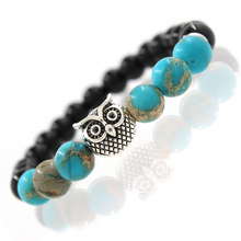 Owl Natural Stone Beads Bracelet & Bangle for Men Women Stretch Yoga Jewelry Fashion Accessories Gifts for Lovers Drop Shipping(China)