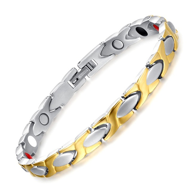 Fashion Anium Steel Between Gold Magnetic Health Women Men Radiation Protection Bracelet Bangle Tbrm