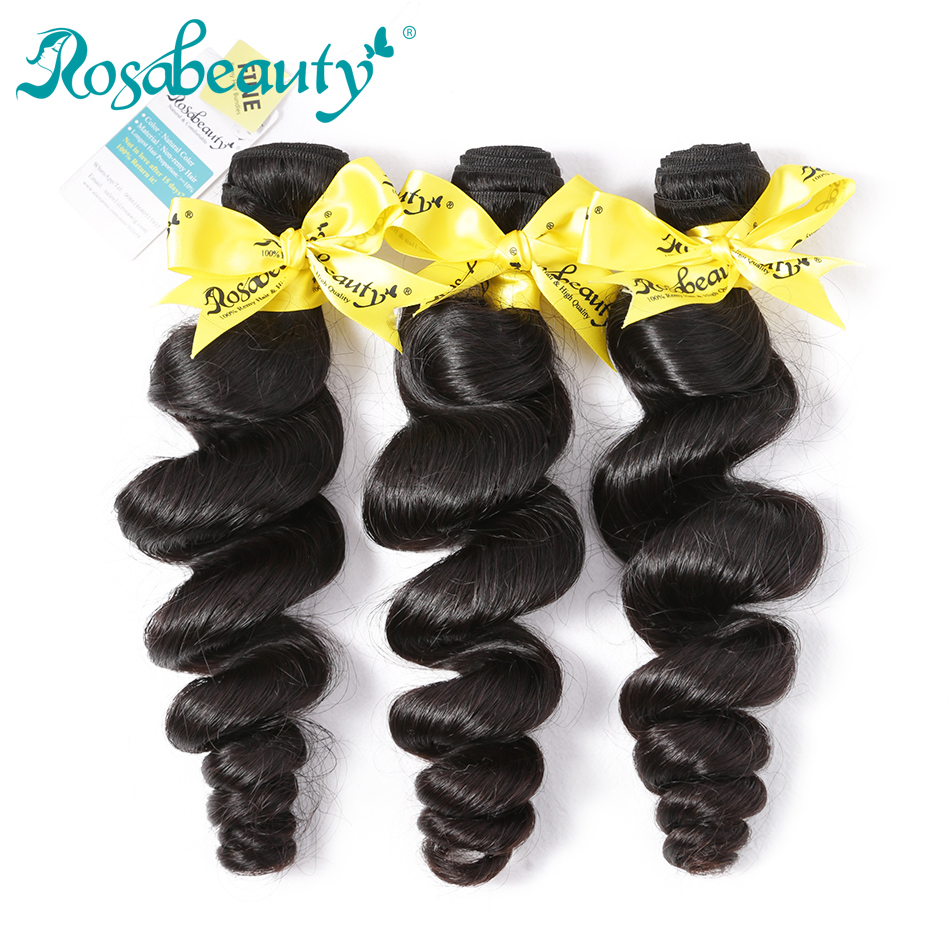 Rosabeauty 8A Grade 3 Bundles Loose Wave Indian Weave Bundles Hair Extension Natural Black Hair Remy