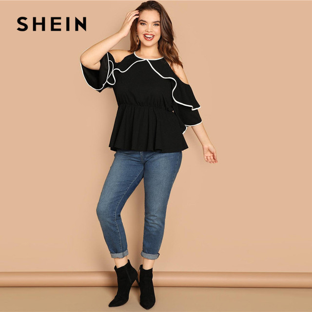 SHEIN Plus Size Sexy Cold Shoulder Butterfly Sleeve Women Black Ruffle Blouse 2019 Casual Spring Three Quarter Sleeve Top Blouse 3