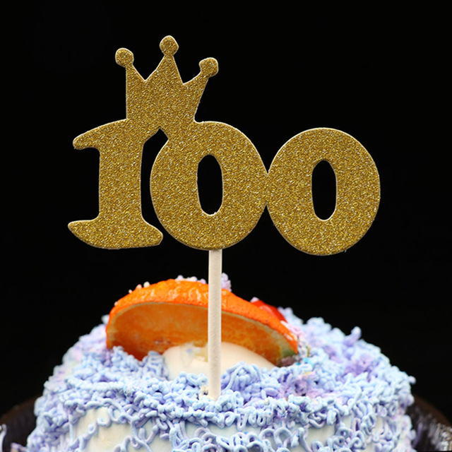 Golden Paper Glitter Cake Toppers For Kids Baby 100 Days Party Cupcake Topper Shower