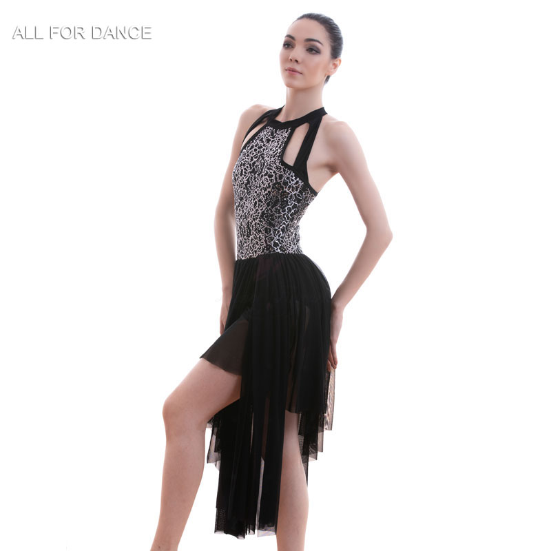 A18707 Black Sequin Lace Bodice Ballet Costume Dress Women Stage Costume Lyrical Dance Dress Ballet Dress image