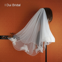 Two Layer Wedding Veil Bridal Hair Accessory Bridal Hair Cover New Style Real Photo 014