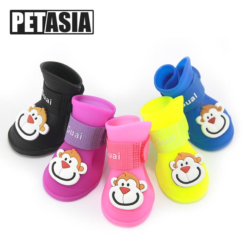 2018 Nueva Llegada 4 Unidades / lote Los Mejores Zapatos para Mascotas para Pequeñas Medias S-L Producto para Mascotas perro Botas de Lluvia desgaste Verano Impermeable ChiHuaHua