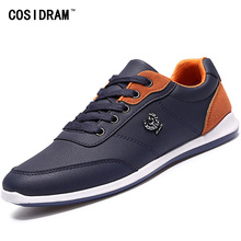COSIDRAM New 2017 Men Shoes Lace Up Designer Spring Autumn Fashion Men Casual Shoes Male Footwear For Men Black Blue RMC-210