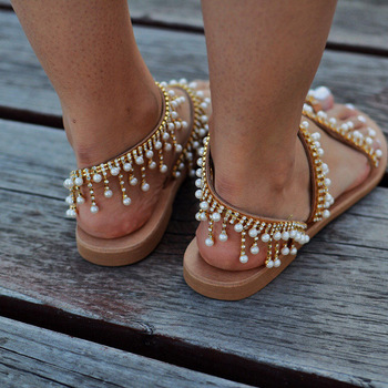 Women Summer Flat Pendant Pearl Sandal String Bead Slipper Women Casual Beach Shoe 2