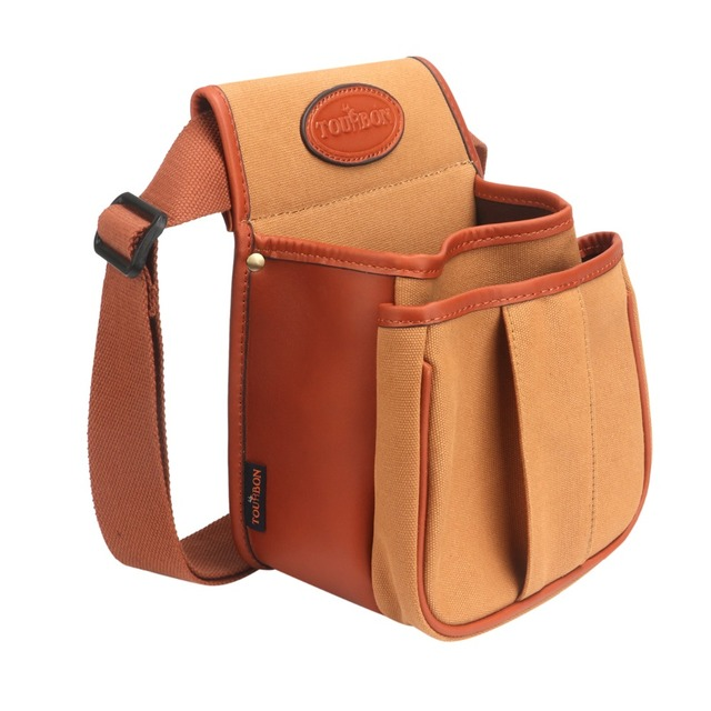 Tourbon Hunting Vintage Canvas Cartridges Bag Shooting Gun Shells Ammo Pouch Case with Two Pocket Large Capacity Wholesale