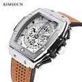 Мужские часы KIMSDUN  спортивные кварцевые часы с кожаным ремешком  спортивные военные наручные часы