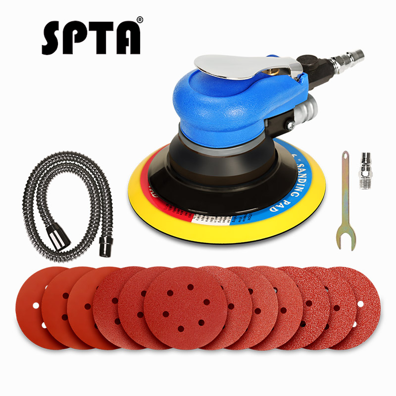 SPTA 150mm 6Inch Air polisher Orbital Sander sanding machine Double Action Compressed Air Grinder Tools 12pcs