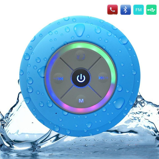 Wireless Bluetooth Speaker Waterproof Led Fm Radio Subwoofer Column Tf Card Suction Cup Mini Shower For Mobile