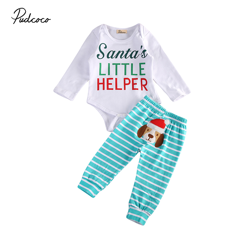 2017 Newborn Baby Christmas Clothes Santa's Little Helper Long Sleeve Romper Tops+Striped Pant 2PCS Outfit Toddler Kids Clothing 2017 autumn newborn baby girl clothes long sleeve cotton romper bodysuit tops pant headband outfit 4pcs children clothing set