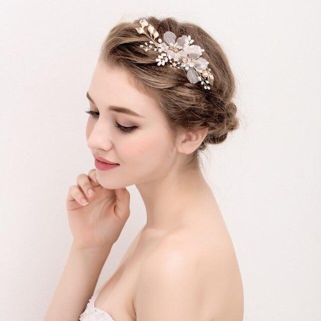 Handgemachte Braut Kopfschmuck Ivory Erroten Rosa Blumen Braut