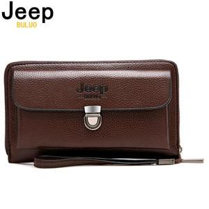 Image 1 - JEEPBULUO marque hommes portefeuilles nouveau décontracté unisexe portefeuille sac à main pochette grande capacité en cuir fendu portefeuille Long sac à main pour hommes